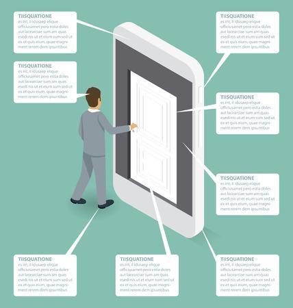 opening door: Startup Concept. Door to the knowledge. Vector 3d flat isometric with businessman is opening the door to big business Illustration