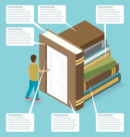 opening door: Education Concept. Door to the knowledge. Vector 3d flat isometric with student is opening the door Illustration