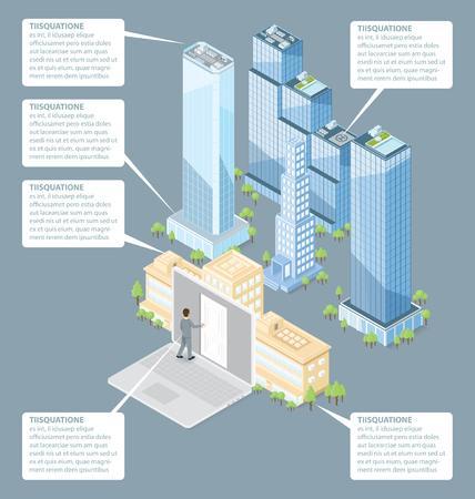 man in air: The door to the big city concept. Vector 3d flat isometric door, man and office building