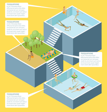 poll: Water pool fun concept. Vector 3d flat isometric poll with people are having fun Illustration