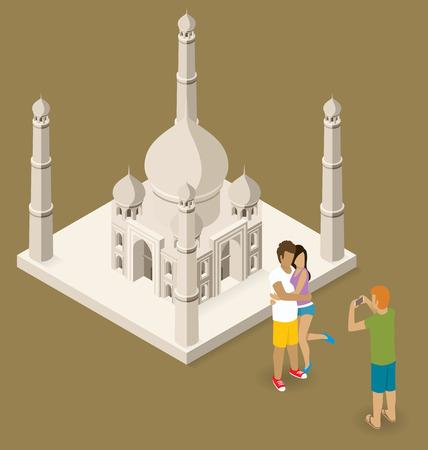 agra: Vector flat isometric сouple making selfie near the Taj Mahal
