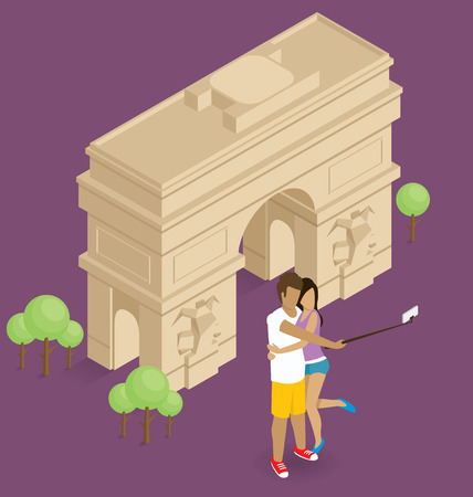 triumphal: Vector flat isometric сouple making selfie near the triumphal arch in Paris Illustration