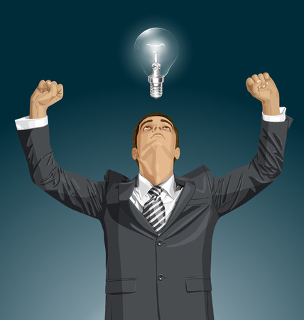 hooray: Vector happy businessman with hands up, looking up, looking for idea, celebrating his victory Illustration