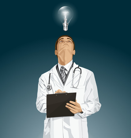 looking: Vector doctor man writing something, looking up, looking for idea, Illustration