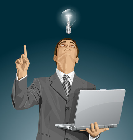 man looking up: Idea concept. Vector business man looking up, looking for idea, shows something with his finger Illustration