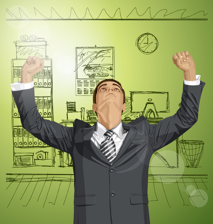 looking: Vector happy businessman with hands up, looking up, looking for idea, celebrating his victory Illustration