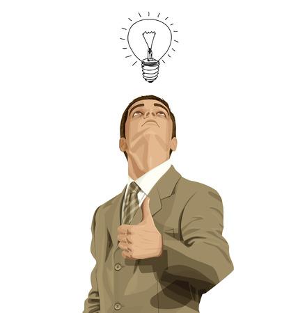 Vector negocio inconformista hombre muestra bien hecho, mirando hacia arriba, en busca de la idea,