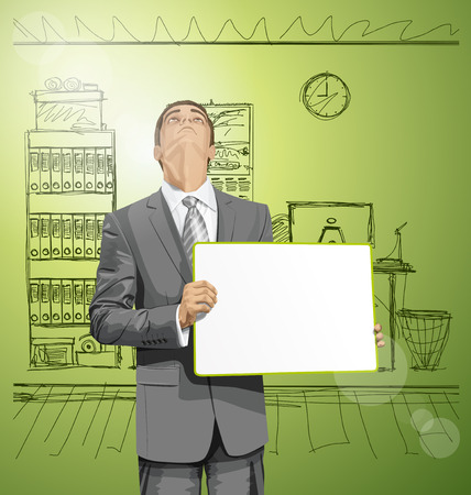 man looking up: Idea concept. Vector Business man holding empty write board, looking up, looking for idea,