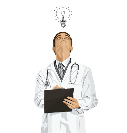 researches: Vector doctor man writing something, looking up, looking for idea, Illustration