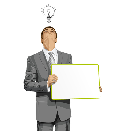 looking: Idea concept. Vector Business man holding empty write board, looking up, looking for idea,