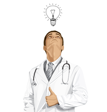 looking: Vector doctor man with stethoscope shows well done, looking up, looking for idea, Illustration