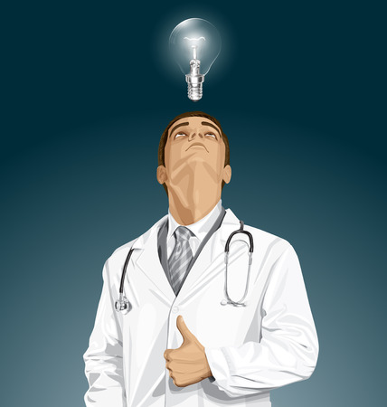 man looking up: Vector doctor man with stethoscope shows well done, looking up, looking for idea, Illustration