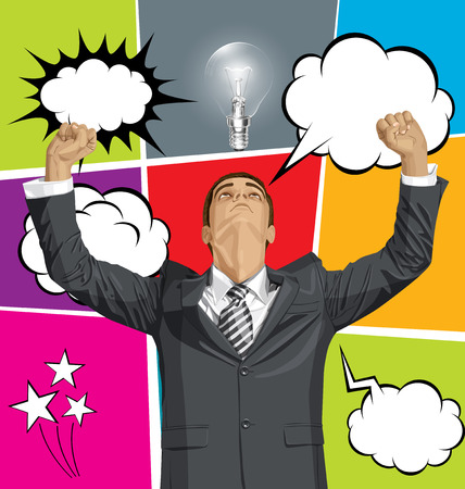 hooray: Vector happy business man with hands up, set of comics style speech and thought bubbles