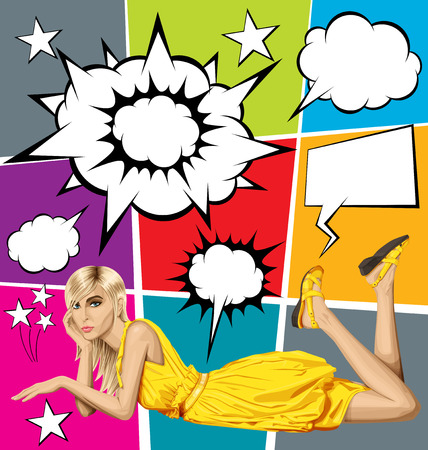 lies: Vector fashion blonde in pink dress lies on a floor, vector set of speech and thought bubbles Illustration