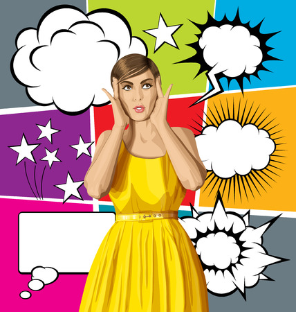 closet communication: vector girl in dress, surprised and looking up, and big set of bubble speech