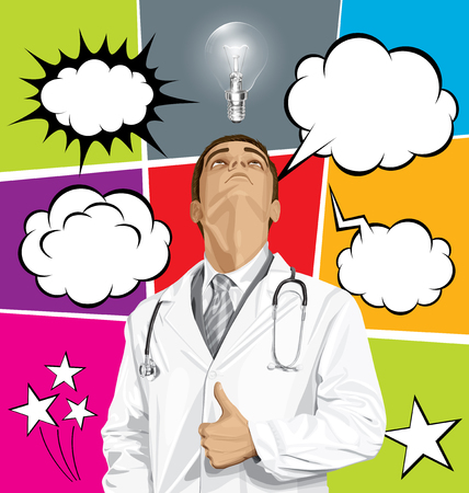 see a doctor: Vector doctor man with stethoscope shows well done, set of comics style speech and thought bubbles