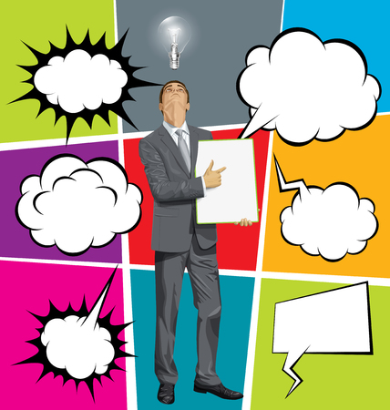 speech: Vector businessman holding empty write board, looking up, set of comics style speech and thought bubbles