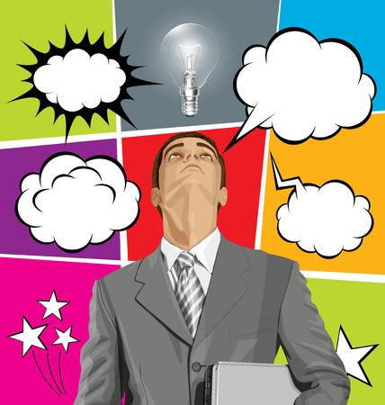 man looking up: Vector business man in suit looking up, with laptop in his hands, and set of comics style speech, and thought bubbles