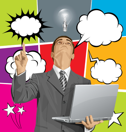 man looking up: Vector business man looking up, shows something with his finger, and set of comics style speech, and thought bubbles