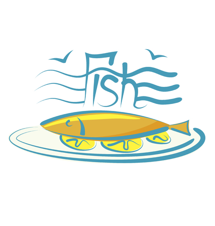 aroma: vector fish with calligraphic inscription and aroma Illustration