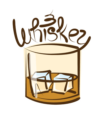 abstract liquor: vector glass of whiskey with ice and calligraphic inscription