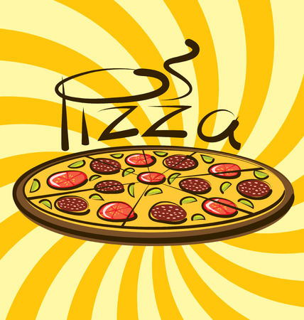 aroma: vector pizza with calligraphic inscription and aroma