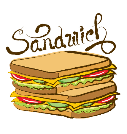 ham sandwich: vector sandwich with calligraphic inscription