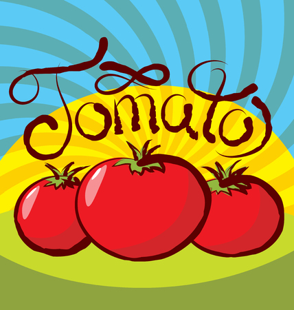 tomate: vecteur tomate avec inscription calligraphique