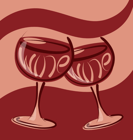 abstract liquor: vector glass of wine with calligraphic inscription Illustration