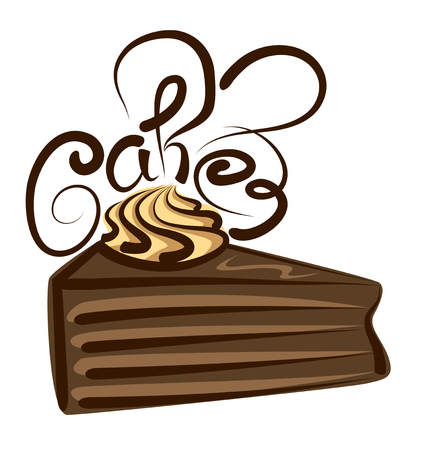 patisserie: vector chocolate cake with calligraphic inscription Illustration
