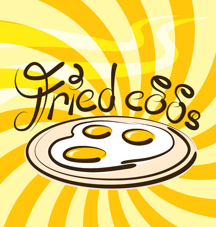 fried eggs: vector fried eggs with calligraphic inscription and aroma