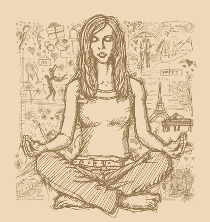woman meditation: Love concept. Vector Sketch, comics style woman meditation in lotus pose, against background with love story elements
