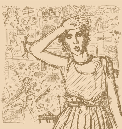 fashion story: Love concept. Vector Sketch, comics style surprised girl, looking up, with open hand, against background with love story elements