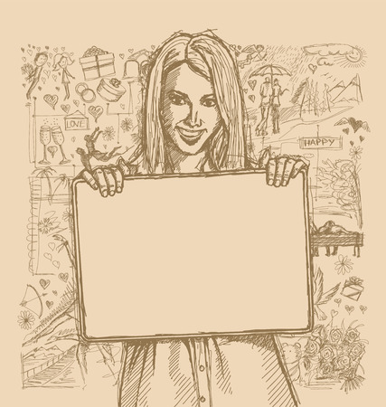 story: Love concept. Vector Sketch, comics style happy business woman holding blank white card in her hands, against background with love story elements