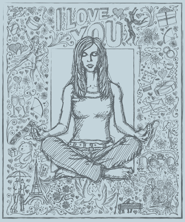 love story: Love concept. Vector Sketch, comics style woman meditation in lotus pose, against background with love story elements
