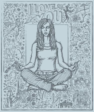 position d amour: Love concept. Vector Sketch, la méditation femme de style de bande dessinée en lotus pose, sur le fond avec des éléments histoire d'amour