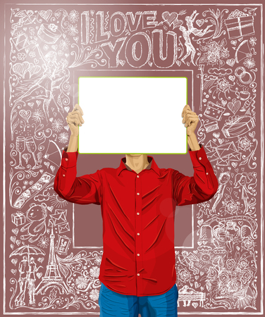 love story: Love concept. Vector Man with write board in his hands against love story elements background