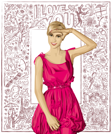 Love concept. Sale concept. Vector surprised blonde in pink dress against love story elements background Illustration