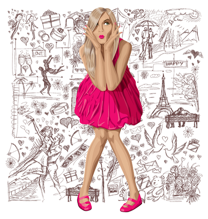 head i: Love concept. Vector surprised blond in pink dress against background with love story elements