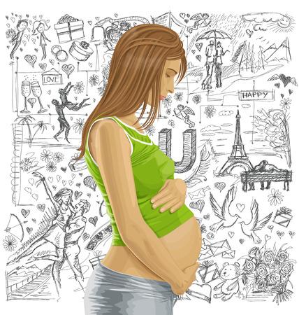 Liebe Konzept. Vector schwangeren Weibchen mit Bauch, wartet auf neues Leben gegen Liebesgeschichte Elemente Hintergrund