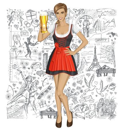 bebes lindos: Concepto del amor. Vector lindo mujer en drindl en Oktoberfest con la taza de cerveza contra el amor elementos de la historia de fondo