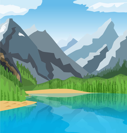 Vector mountain lake illustration with threes and sky  イラスト・ベクター素材