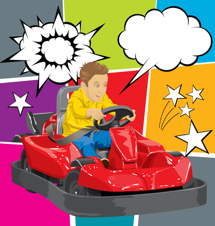 Vector illustration of boy driving go kart so happy about it Çizim