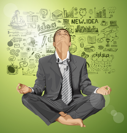 Relax concept. Vector businessman in lotus pose looking up, looking for idea, meditating