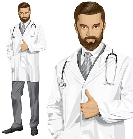 researcher: Vector doctor man with stethoscope shows well done Illustration