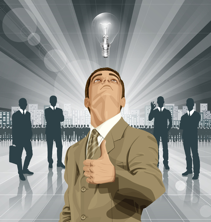 man looking up: Vector hipster business man shows well done, looking up, looking for idea,