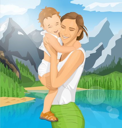 cuddling: Happy family concept. Vector woman with child Illustration