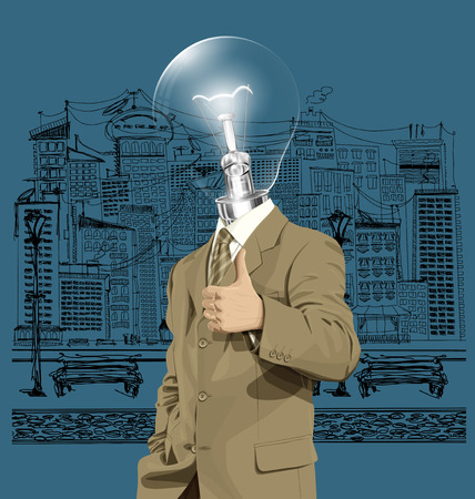 well done: Vector hipster lamp head business man have an idea and shows well done on the sketch street
