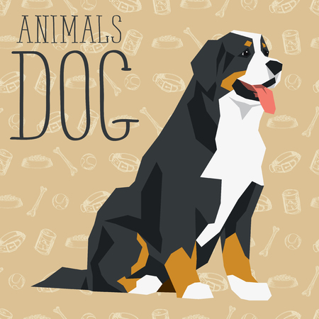 berner: Vector geometric dogs collection with seamless background. Bernese mountain dog Illustration
