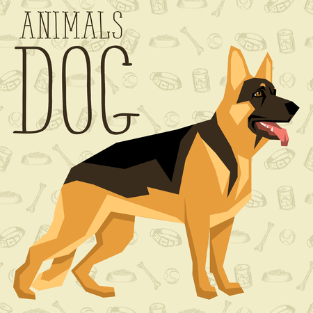 german food: Vector geometric dogs collection with seamless background. German Shepherd Illustration